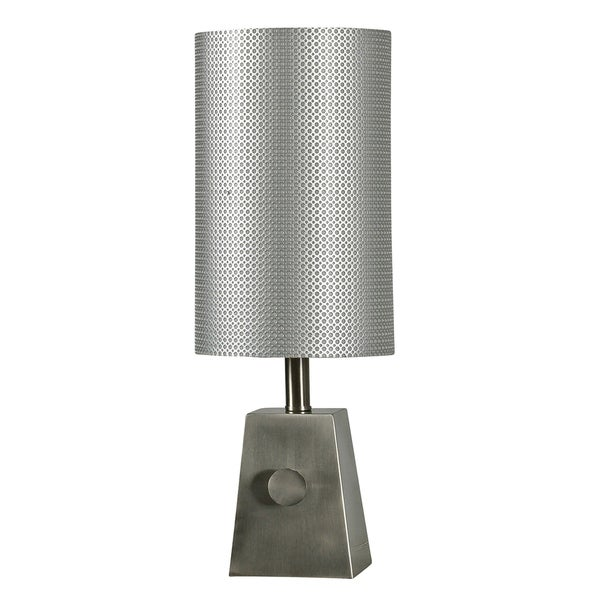 StyleCraft Brush Steel Table Lamp - Silver Hardback Fabric Shade