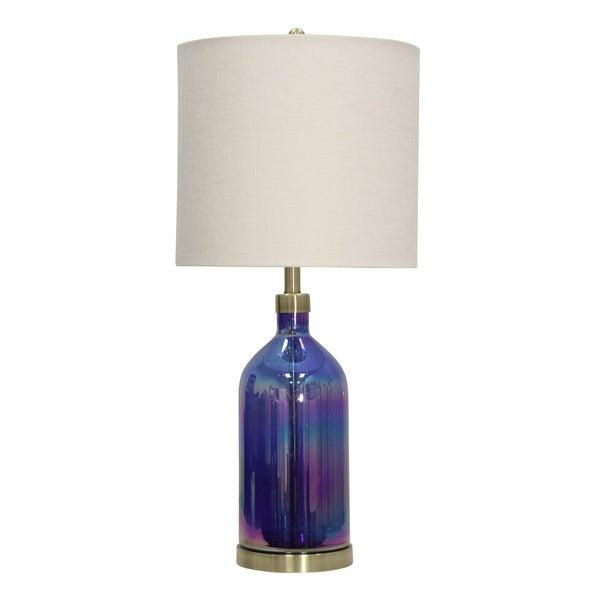 Brecini Blue Table Lamp - White Hardback Fabric Shade