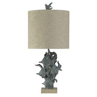 StyleCraft St. Kilda Dark Blue Table Lamp - Beige Hardback Fabric Shade