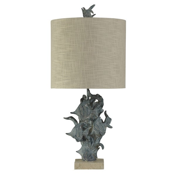 StyleCraft St. Kilda Dark Blue Table Lamp - Beige Hardback Fabric Shade