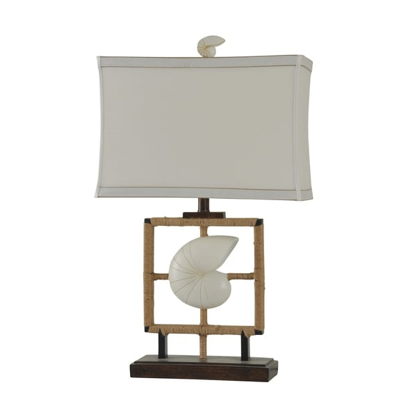 Minzies Bay Brown and White Table Lamp - White Softback Fabric Shade