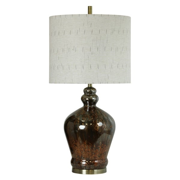 StyleCraft Campomoro Chocolate And Rust Table Lamp - White Hardback Fabric Shade