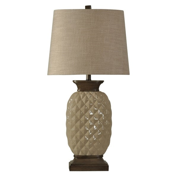 Dazzle Ceramic Dark Wood And Off-White Table Lamp - Natural Linen Hardback Fabric Shade