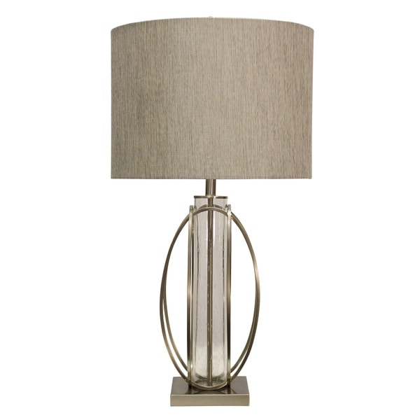 Brushed Steel and Glass Table Lamp - Taupe Hardback Fabric Shade