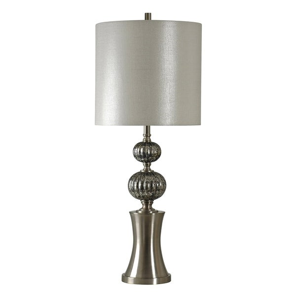 Averill Silver Table Lamp - Silver Hardback Fabric Shade