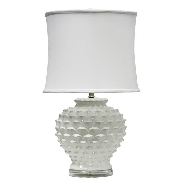 Atmore Ceramic White Table Lamp - White Softback Fabric Shade