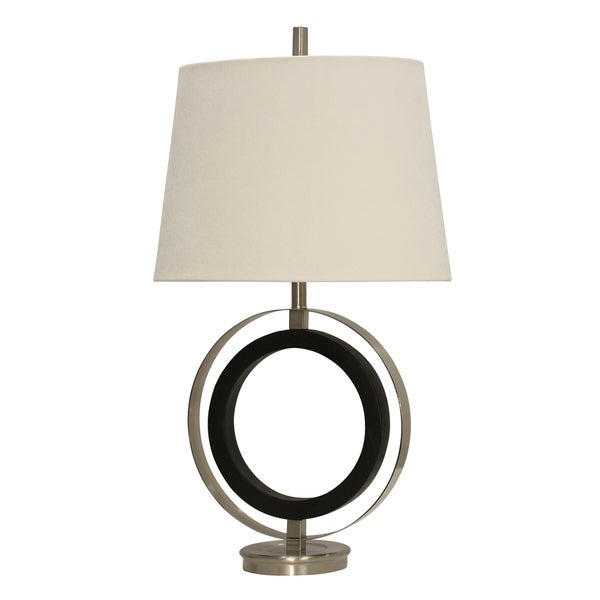 Bainville Contemporary Black And Stainless Steel Table Lamp - White Hardback Fabric Shade