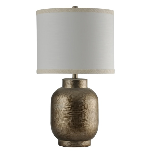 StyleCraft Hema Gold Table Lamp - White Hardback Fabric Shade