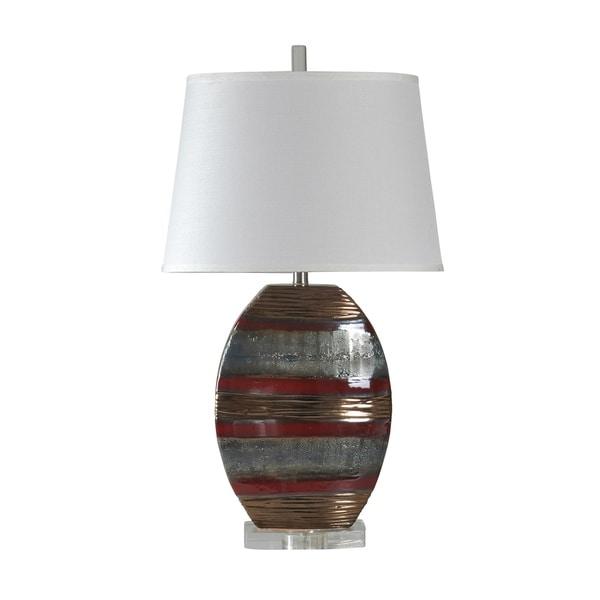 Erina Ceramic Earth Tone Table Lamp - White Hardback Fabric Shade