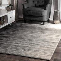 "nuLOOM Black Geometric Abstract Stripes Fancy Area Rug - 9' 10"" x 14'"