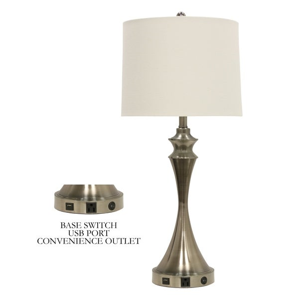 Shop Brushed Steel Base Switch Usb Port Table Lamp White