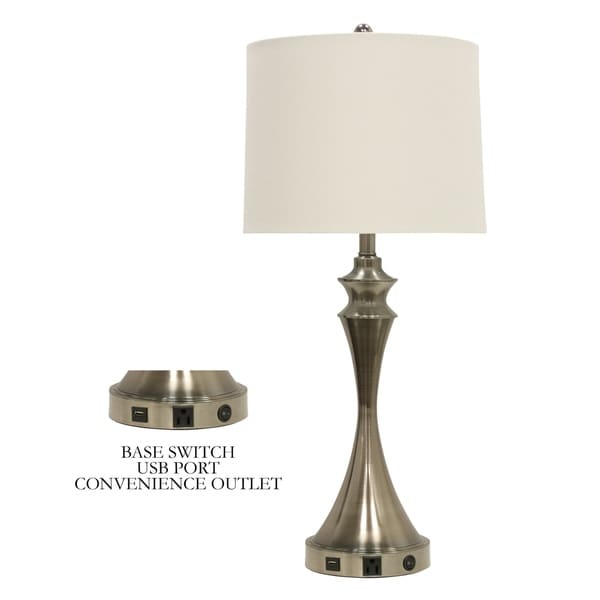 Brushed Steel Base Switch USB Port Table Lamp - White Hardback Fabric Shade