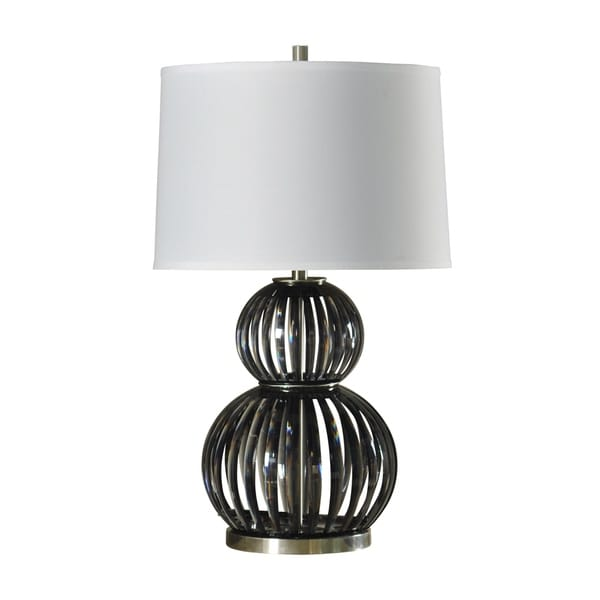 Easton Contemporary Black and Brushed Steel Round Table Lamp - White Hardback Fabric Shade