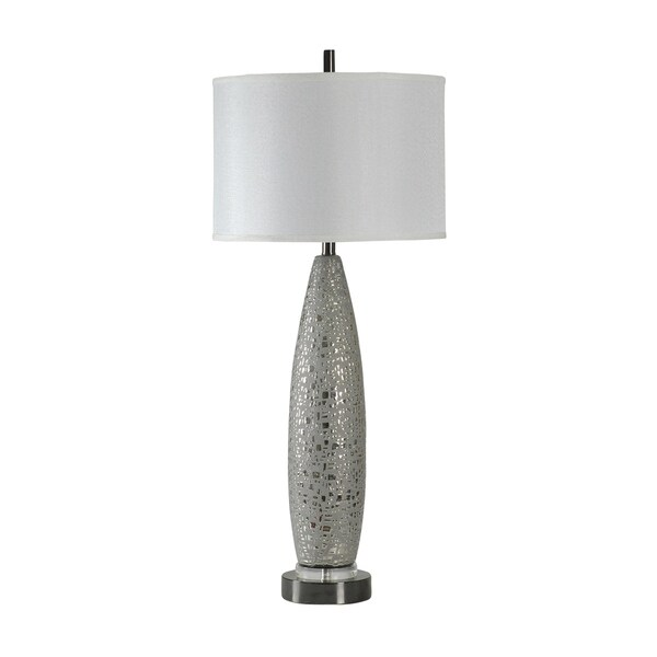 StyleCraft Kettering Ceramic Silver Table Lamp - White Hardback Fabric Shade