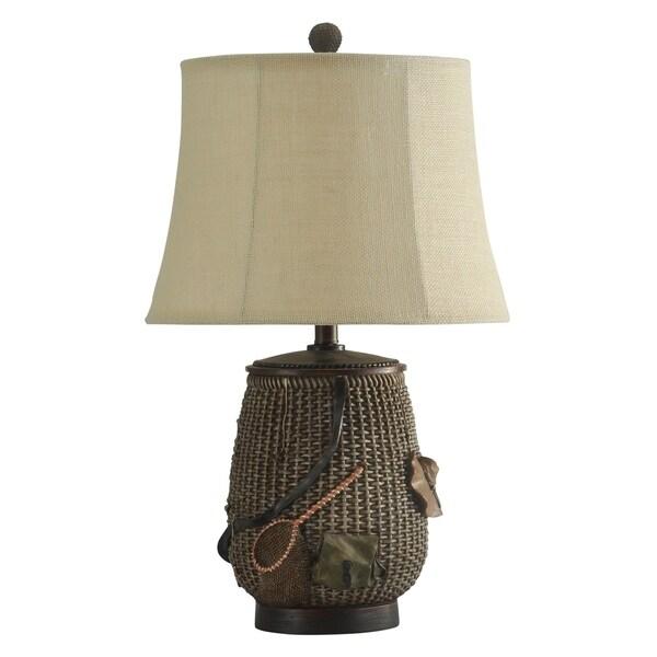 StyleCraft Mossy Oak River Oak Brown Table Lamp - Beige Softback Fabric Shade