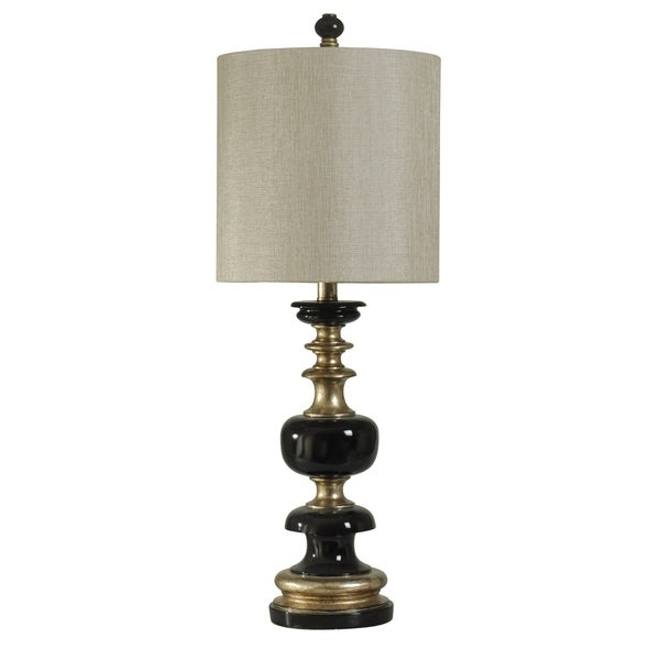 Kingston Black and Gold Table Lamp - White Hardback Fabric Shade