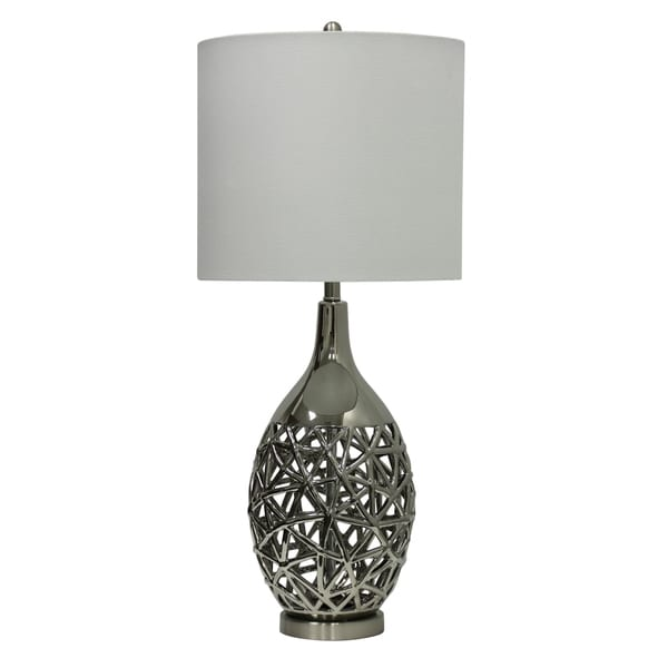 StyleCraft Altay Ceramic Silver Table Lamp - White Hardback Fabric Shade