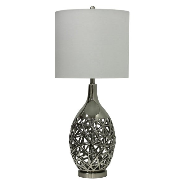 Altay Ceramic Silver Table Lamp - White Hardback Fabric Shade