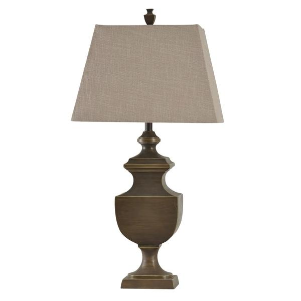 StyleCraft Bossier Brown Table Lamp - Beige Hardback Fabric Shade
