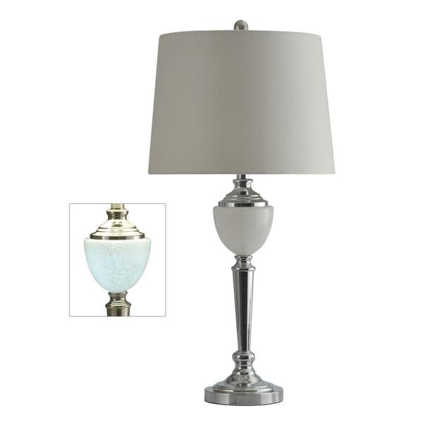 Chrome Table Lamp - Grey Hardback Fabric Shade