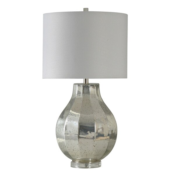 StyleCraft Silver and Glass Table Lamp - White Hardback Fabric Shade