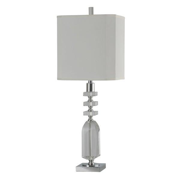 Jane Seymour Crystal/Chrome Table Lamp - White Hardback Fabric Shade