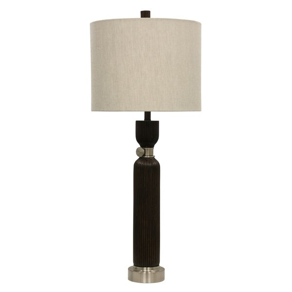 Walnut Bridge Table Lamp - Cream Hardback Fabric Shade