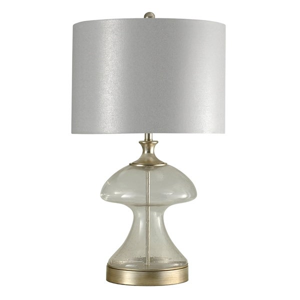 StyleCraft Arcene Silver and Glass Table Lamp - White Hardback Fabric Shade