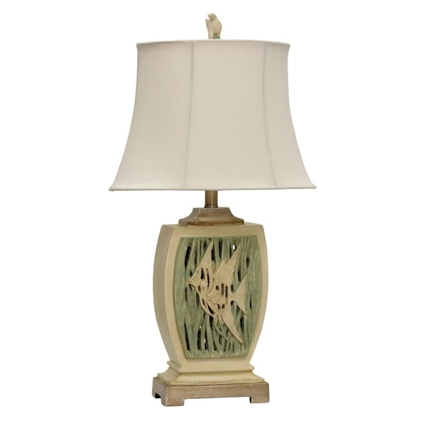Terry Cove Green and Tan Table Lamp - White Softback Fabric Shade