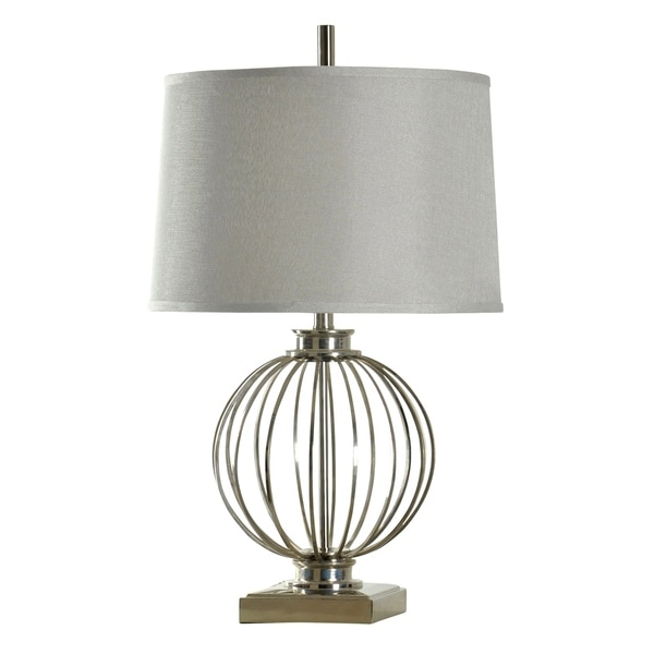 Polished Nickle Table Lamp - White Hardback Fabric Shade