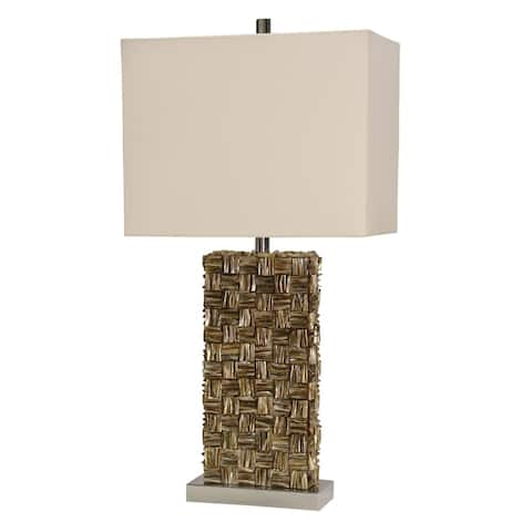 StyleCraft Mystic Shell Brown Table Lamp - White Hardback Fabric Shade