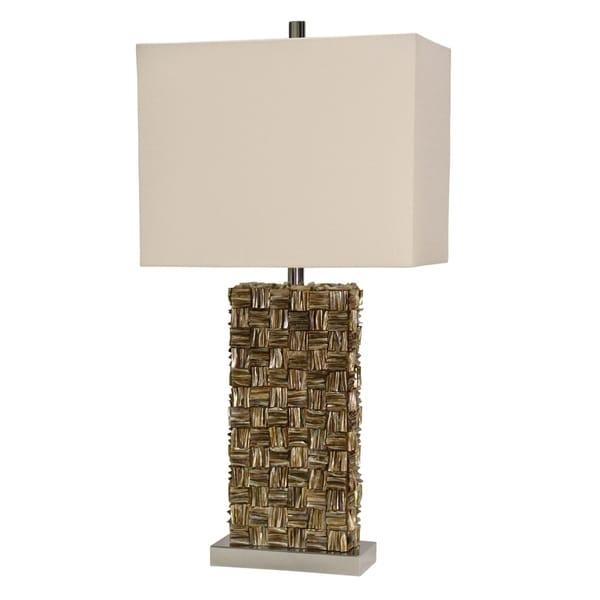 Mystic Shell Brown Table Lamp - White Hardback Fabric Shade
