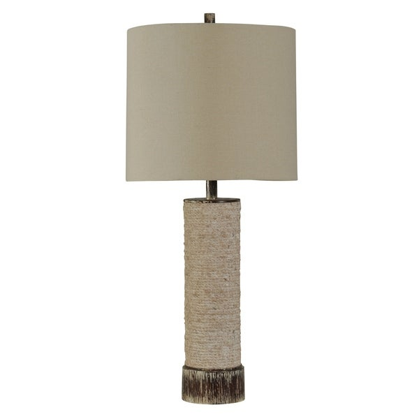 Palm Bay Beige Table Lamp - White Hardback Fabric Shade