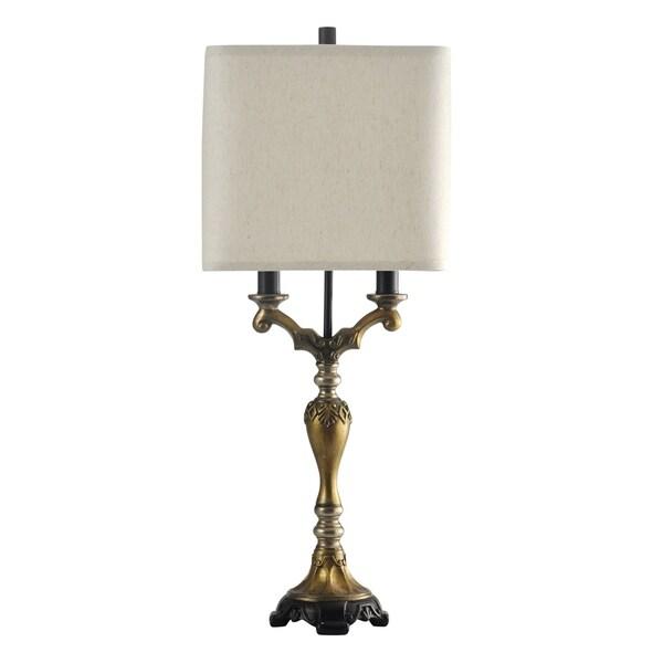 StyleCraft Saraland Gold Table Lamp - White Hardback Fabric Shade