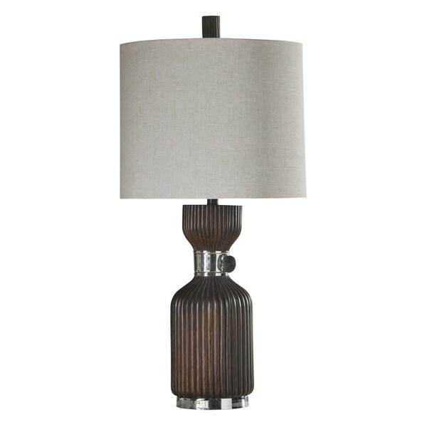 Walnut Ridge Table Lamp - White Hardback Fabric Shade