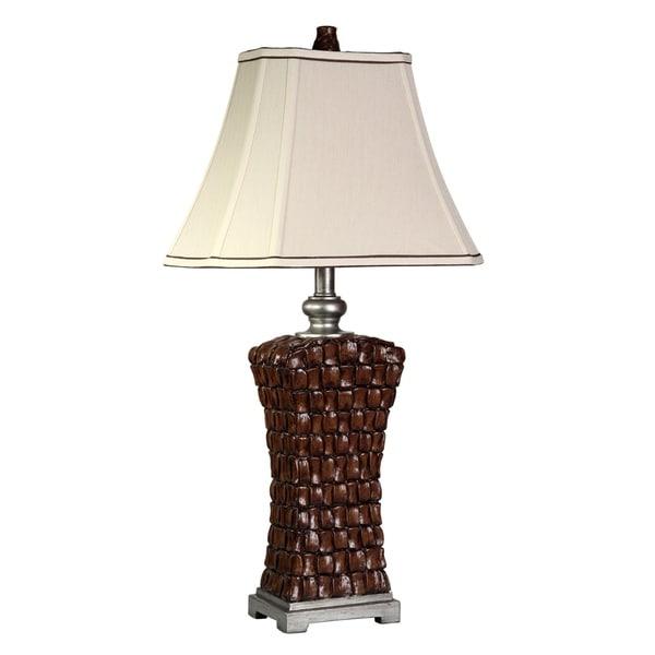 Williamsburg Brown Table Lamp - White Softback Fabric Shade