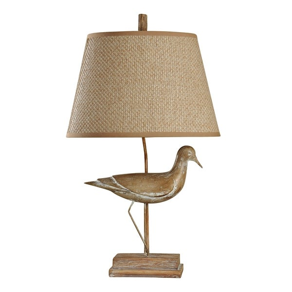 Avadi Natural Wood Table Lamp - Beige Hardback Fabric Shade