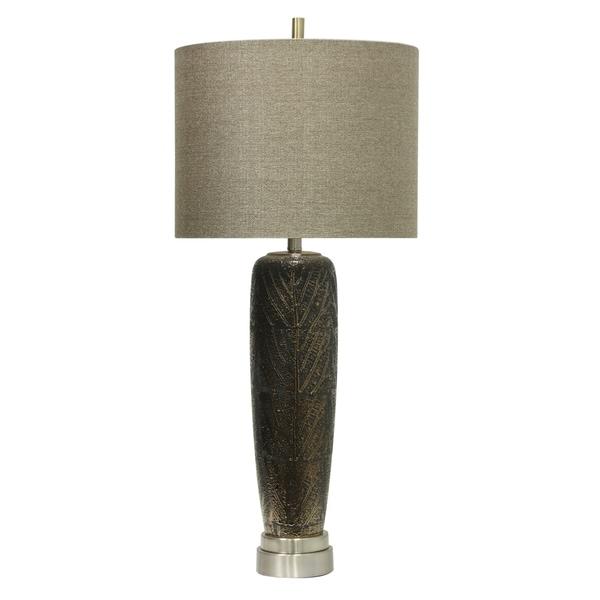 Muncie Ceramic Table Lamp - Black Finish - Beige Hardback Fabric Shade