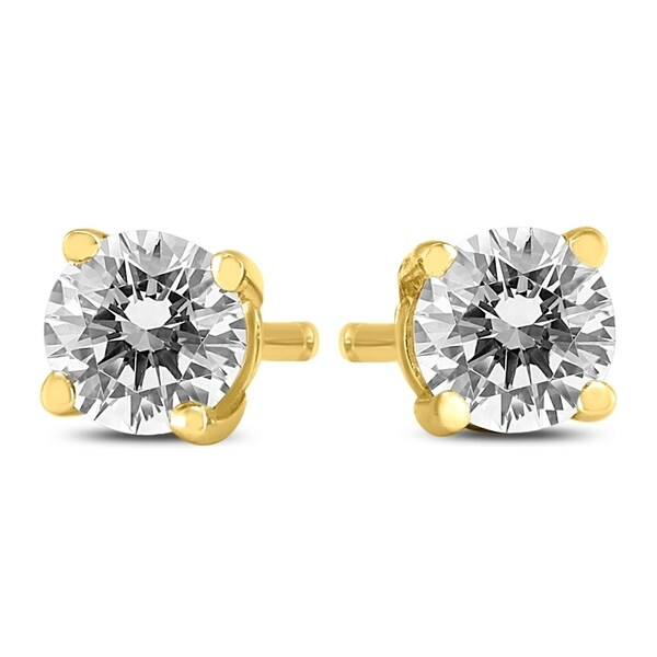 5fb117092 Shop 1/2 Carat TW Round Diamond Solitaire Stud Earrings In 14k Yellow Gold  - On Sale - Free Shipping Today - Overstock - 20955084
