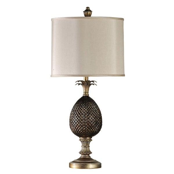 Shop Maui Dark Brown And Gold Table Lamp Cream Hardback