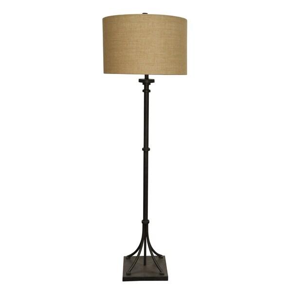 StyleCraft Industrial Bronze Floor Lamp - Beige Hardback Fabric Shade