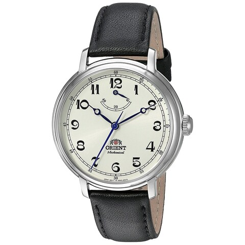 Orient Men's 'Monarch' Automatic Black Leather Watch - champagne