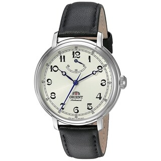 Orient Men's FDD03003Y0 'Monarch' Automatic Black Leather Watch - champagne - N/A