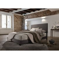 Layla Upholstery Brown Linen Platform Bed w/ Wooden Slates