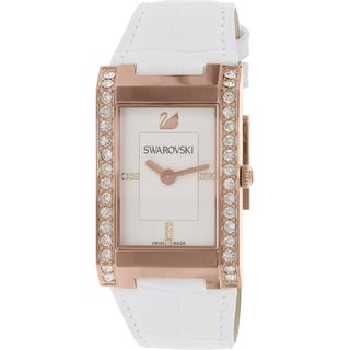 Swarovski Women's 1094370 'Citra Square' Crystal White Leather Watch - N/A