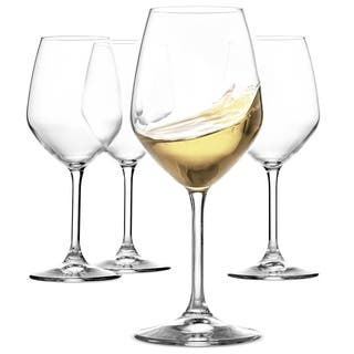 Italian White Wine Glasses - 15 Ounce - Lead Free - Shatter Resistant - Wine Glass Set of 4, Clear
