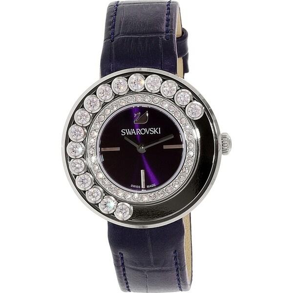3ebd470161 Swarovski Women's 5027205 'Lovely' Crystal Black Leather Watch