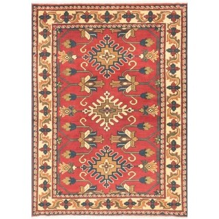 eCarpetGallery Hand-knotted Finest Kargahi Dark Red, Light Gold Wool Rug - 3'7 x 4'10