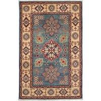 eCarpetGallery Hand-knotted Finest Gazni Light Denim Blue Wool Rug - 3'10 x 6'1