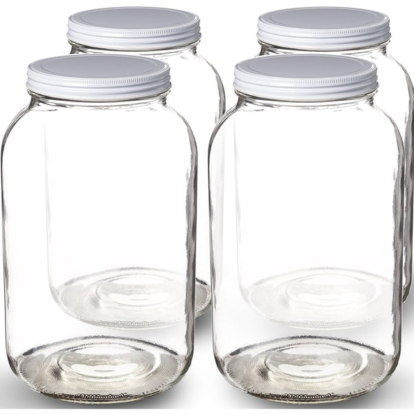 Change Store 1 Gallon Wide Mouth Glass Jar With Metal Lid Ferment Tea